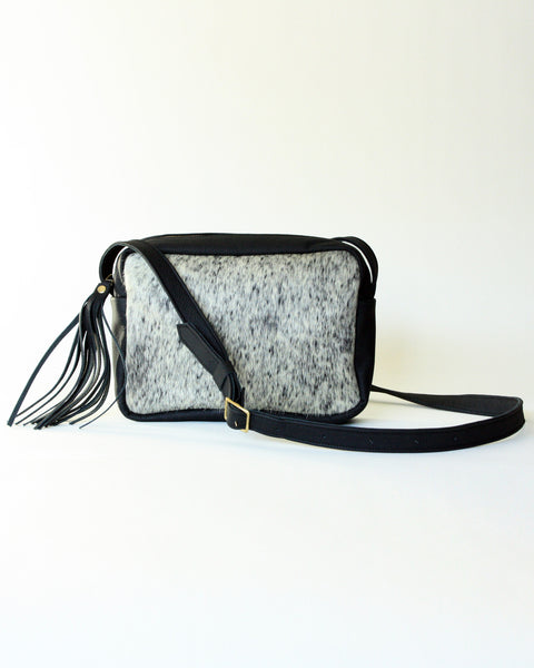 Rectangular Leather Bag - Salt + Pepper