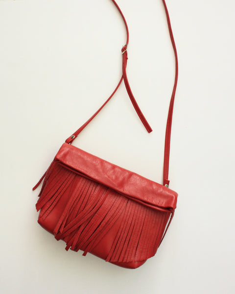Fringy in Red Leather - foldover cross body clutch