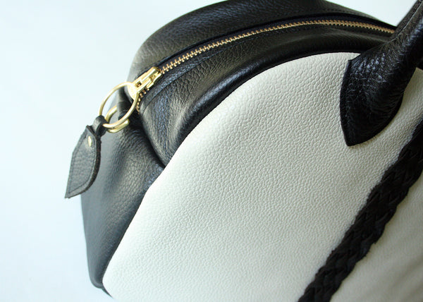 Bowler Handbag in black + white with braided detail