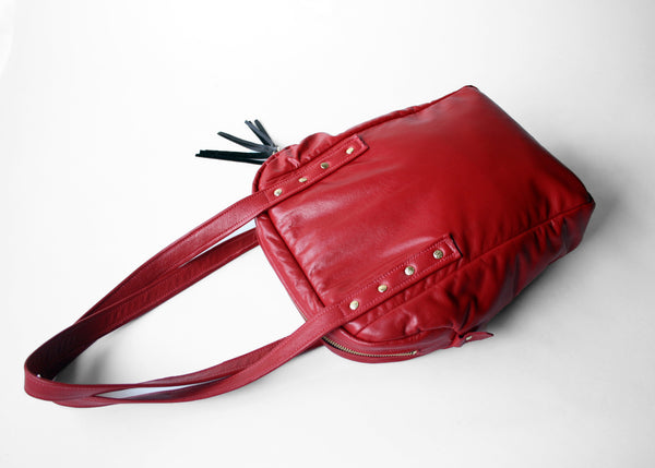 Long Fringy Tote in Red and Black