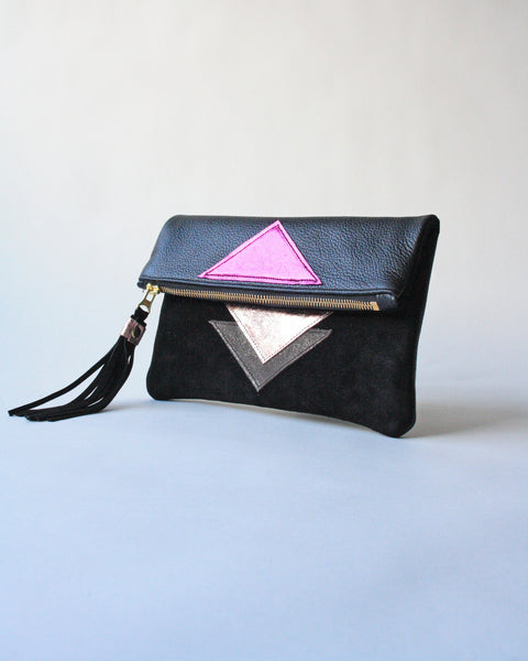 Clutch in Fuschia - Metallic Geo Suede + Leather