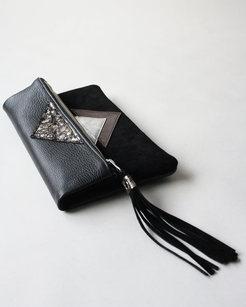 Clutch in Silver - Metallic Geo Suede + Leather