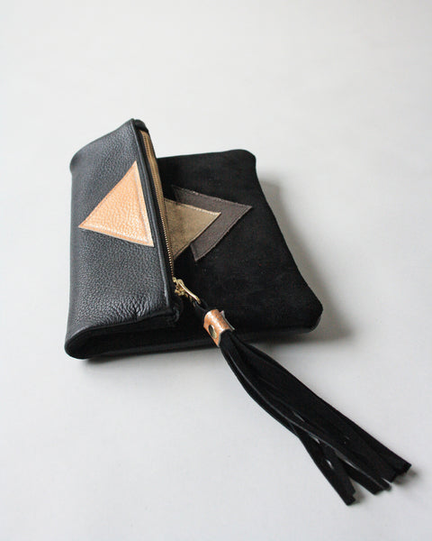 Clutch in Sorbet - Metallic Geo Suede + Leather