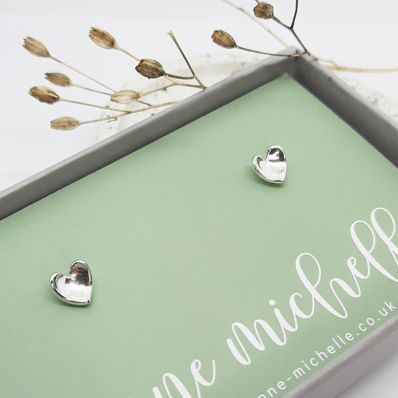 Anne Michelle Sterling Silver Heart Stud Earrings