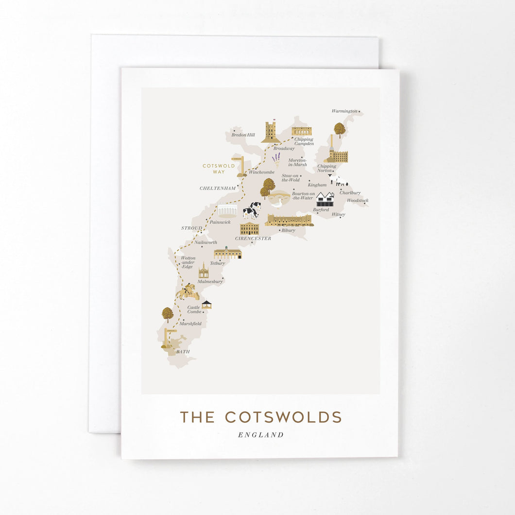 Bluetiful Map of The Cotswolds Card