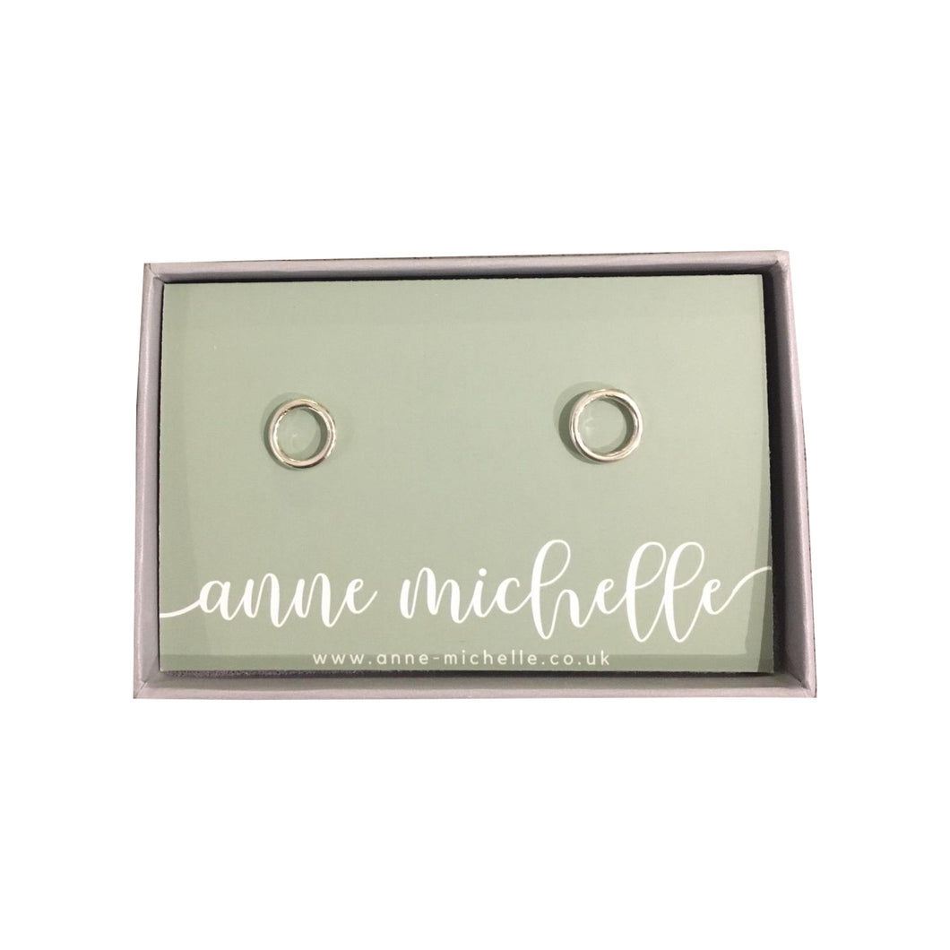 Anne Michelle Sterling Silver Circle Stud Earrings