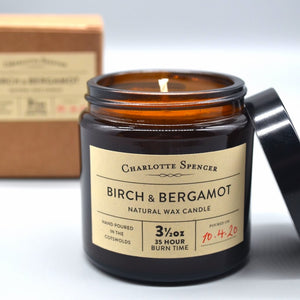 Charlotte Spencer Birch & Bergamot 3.5 oz Natural Wax Candle