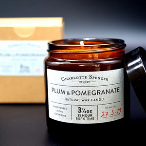 Charlotte Spencer Plum & Pomegranate 3.5 oz Natural Wax Candle