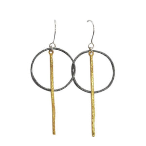OXIDISED RING LONG GOLD HAMMERED BAR DROP EARRINGS