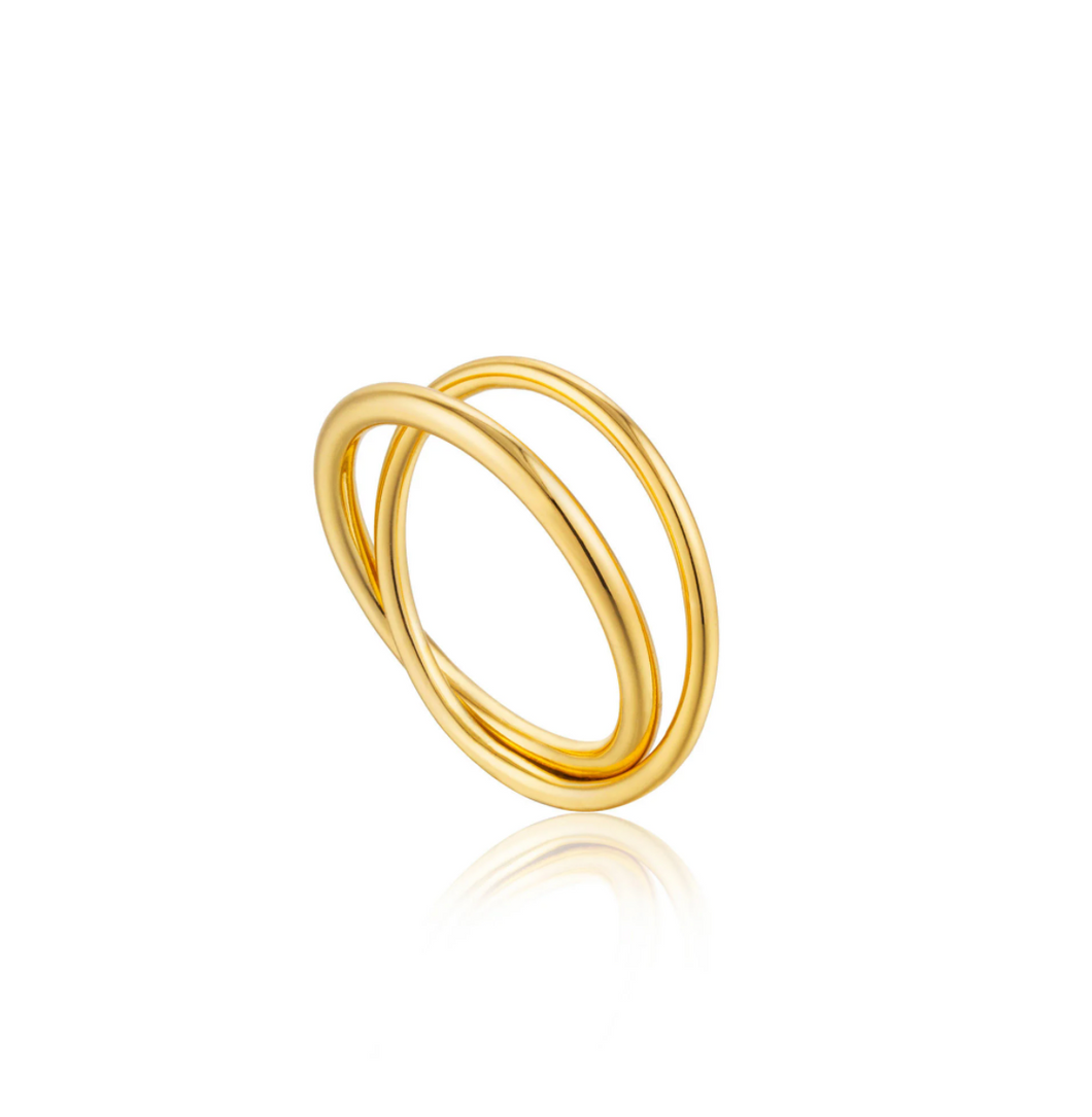 GOLD MODERN DOUBLE WRAP RING - Amabis