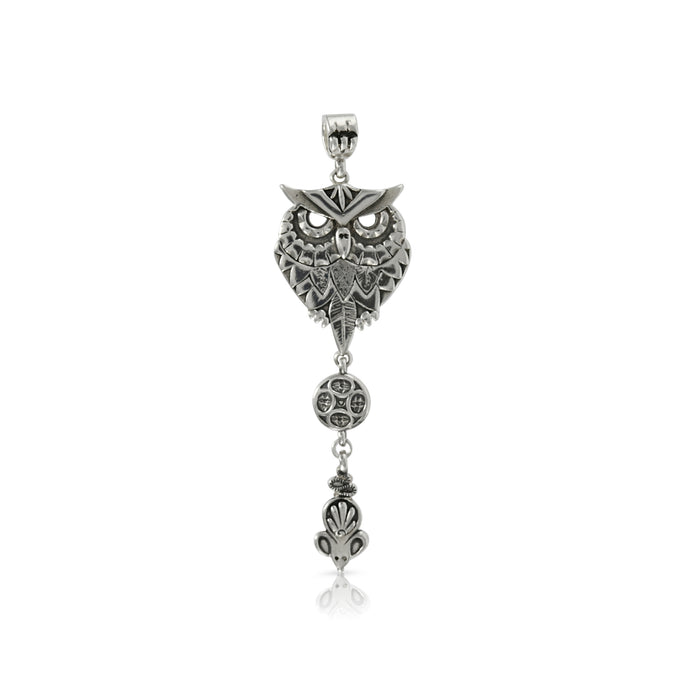 SILVER OWL WITH BEAD AND MOUSE - Amabis