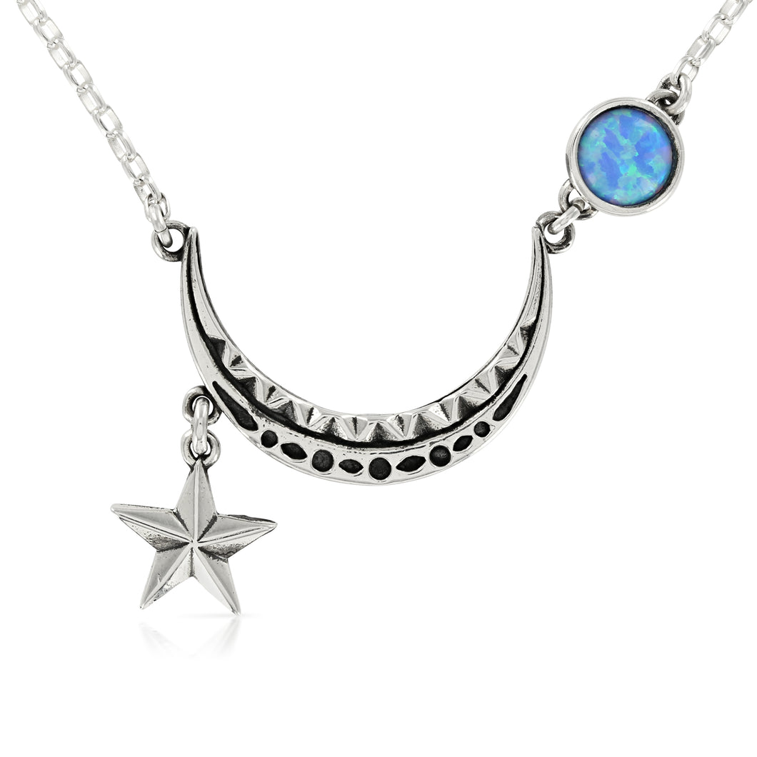 SILVER MOON WITH OPAL AND STAR NECKLACE - Amabis
