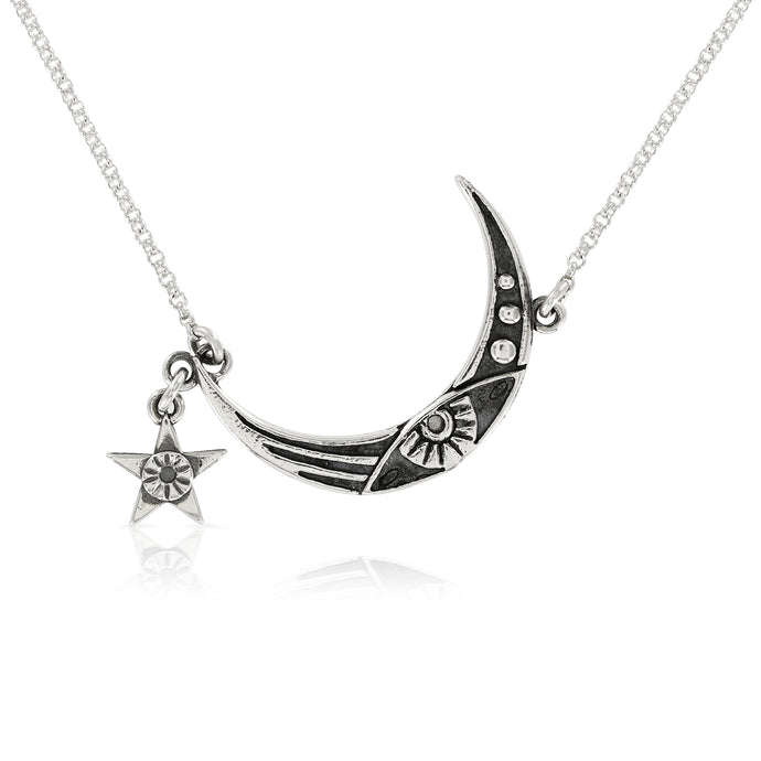 SILVER MOON AND STAR NECKLACE - Amabis