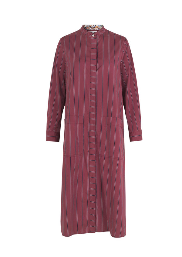 SAGA DRESS WINE STRIPE