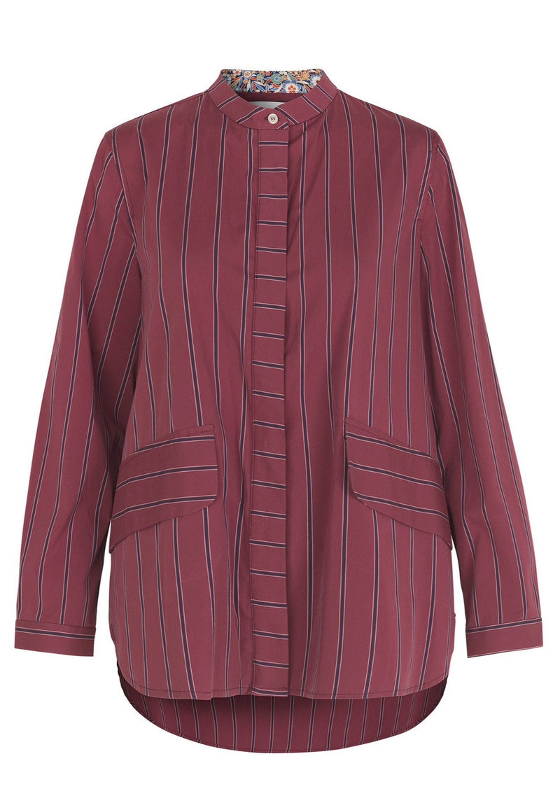 SANJA SHIRT JACKET WINE STRIPE