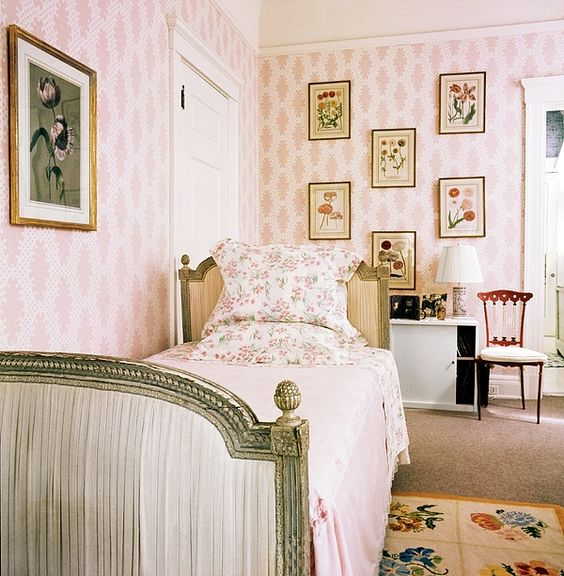 green painted bed in pink girls room