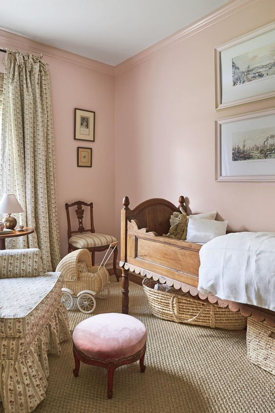 scalloped bed in pink girls room