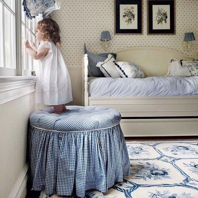 toddler girls on blue gingham stool in bedroom