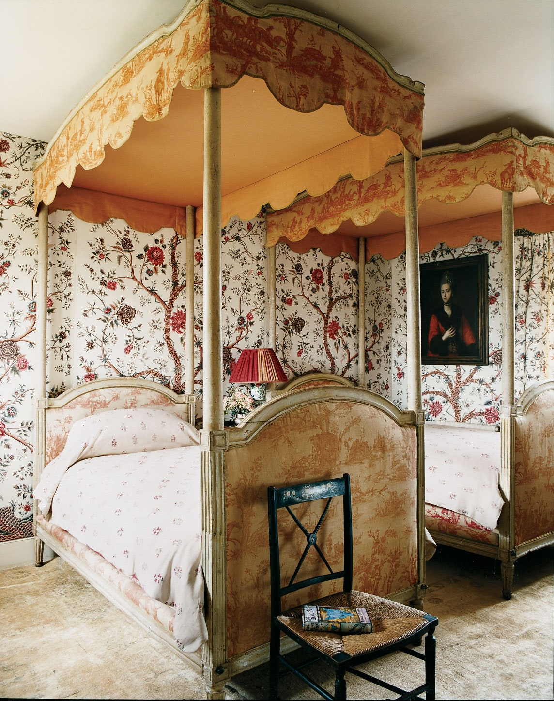 toile pair of canopy beds guest bedroom