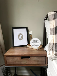 chipmunk cameo art print bedroom art on side table
