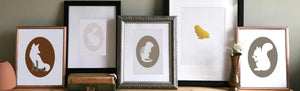 Collection of framed giclee cameo art prints including fox rabbit chipmunk dog and squirrel