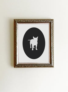 black and white boston terrier cameo art print in frame