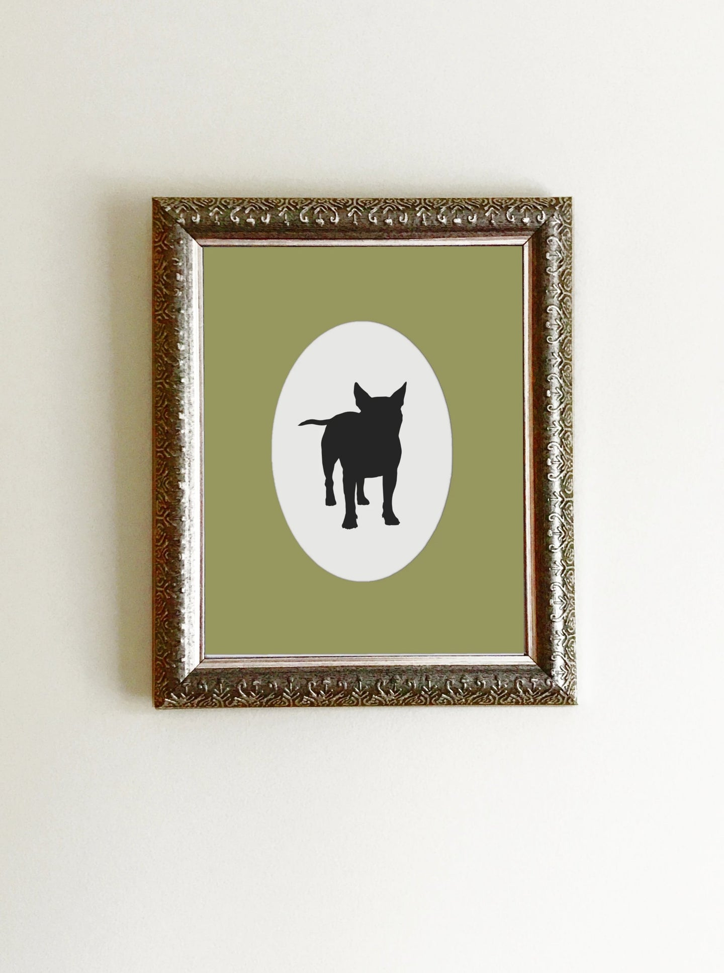 boston terrier silhouette in black and white framed with green mat