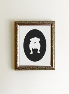 black bulldog cameo on white background art print framed on wall