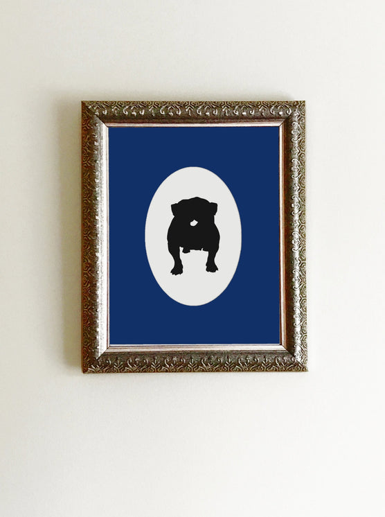 black bulldog silhouette on white background art print in frame with blue mat