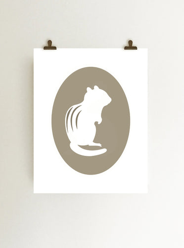 Chipmunk cameo giclee art print in tan on white fine art paper shown hanging in wall from clips