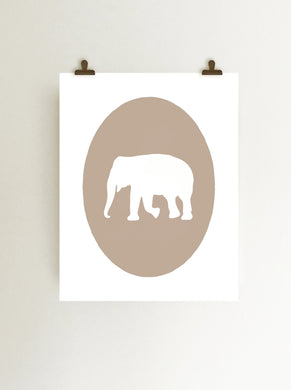 Tan elephant cameo giclee art print on white fine art paper art print hanging from clips on wall