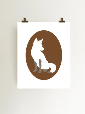 Fox cameo giclee art print on white paper shown hanging on wall from clips