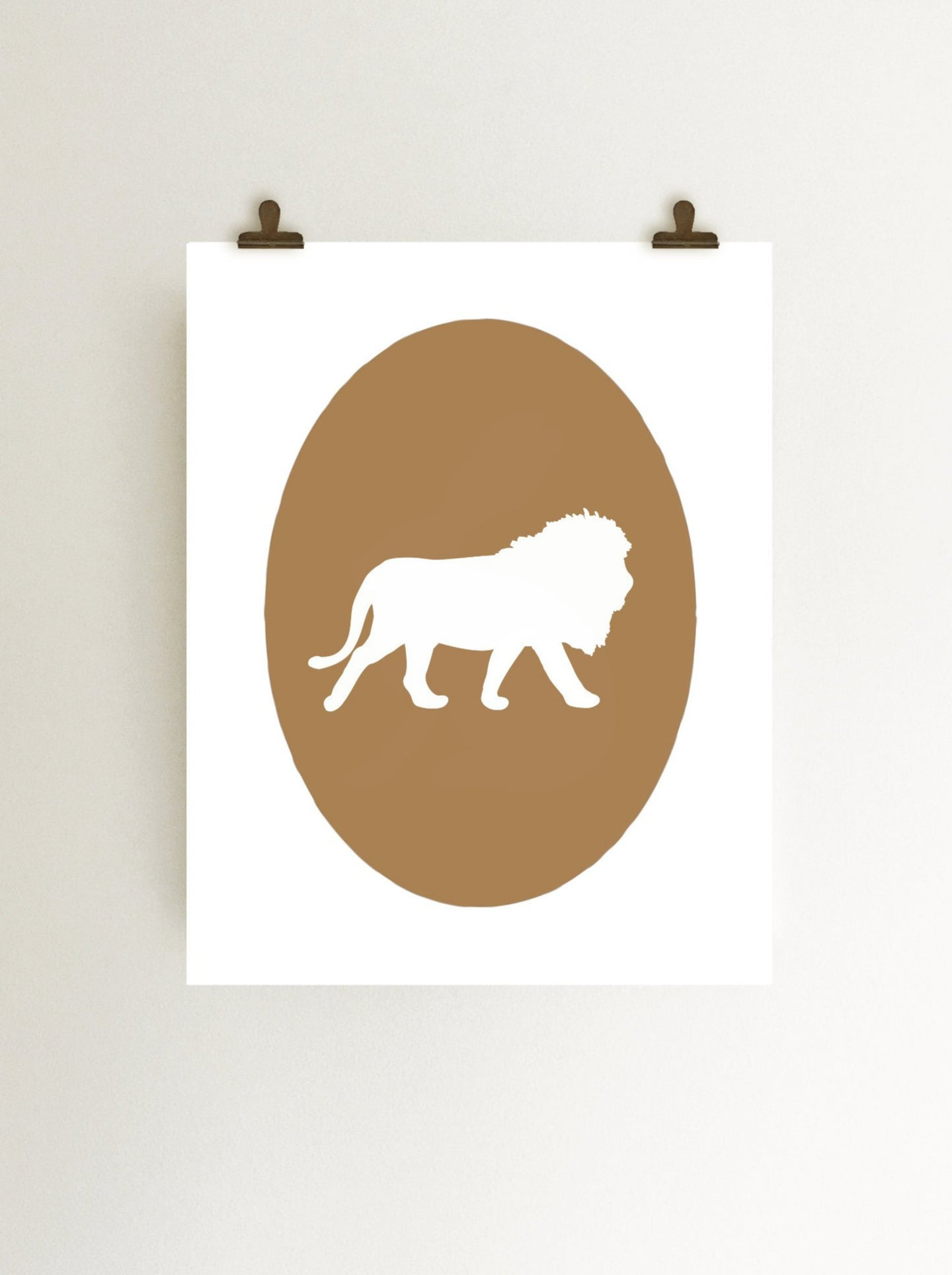 lion cameo zoo art print