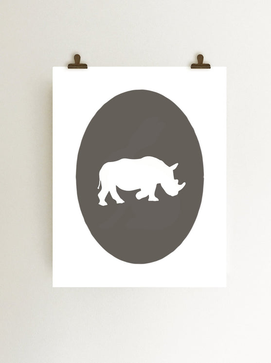rhinoceros wall art cameo art print digital download