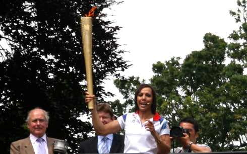 Dame Kelly Holmes in Tonbridge with Olympic Torch