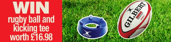 Win a Gilbert rugby ball and kicking tee worth £16.98