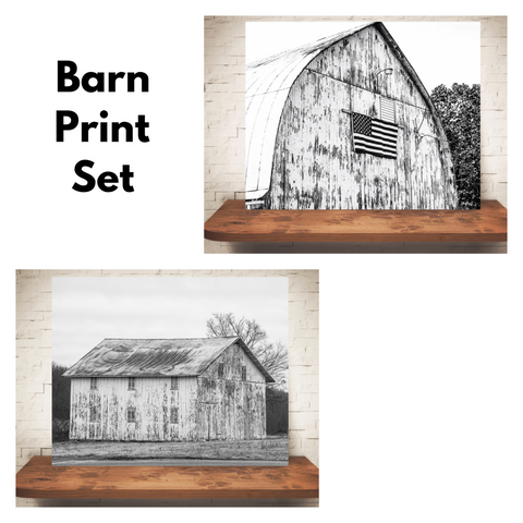 Set of Two White Barn Photographs Black White