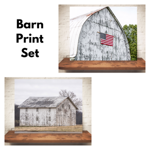 Set of Two White Barn Photographs
