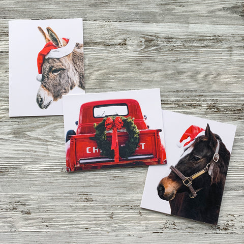 Set of Three Christmas Cards Donkey Horse Red Truck