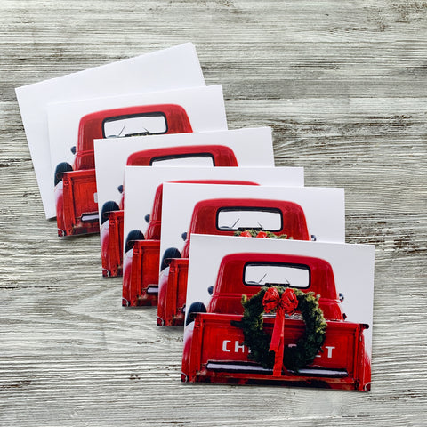 Set of Five Christmas Cards Red Truck