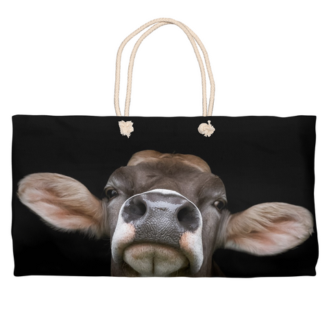 Brown Swiss Cow Market Bag - Weekender Tote