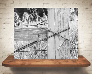 Barbed Wire Fence Photograph Black White