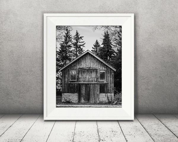 Pine Barn Photograph Black White