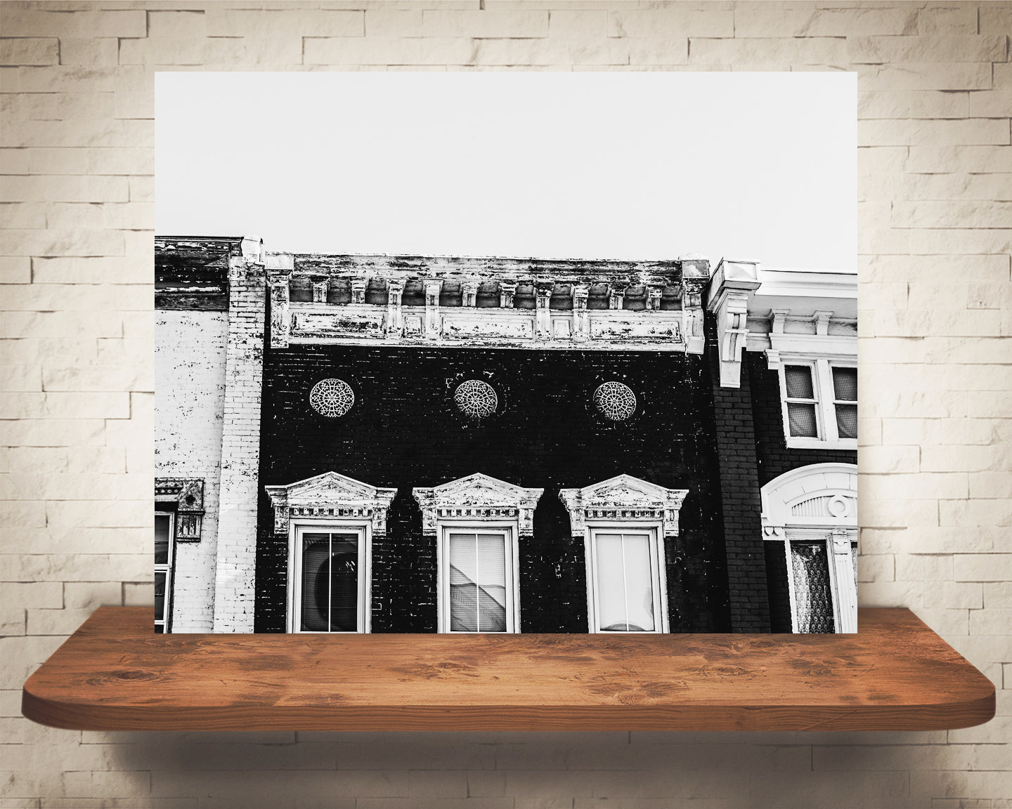 Old Storefront Building Photograph Black White