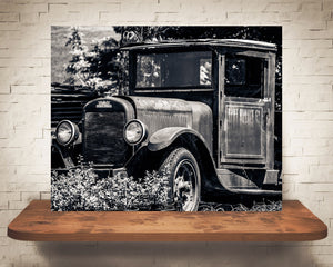Antique Car Photograph Black White