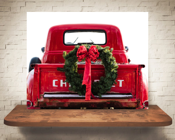 Old Red Truck Christmas Photograph
