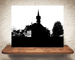 Halloween Church Photograph Black White