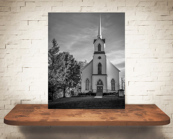 Church Photograph Black White