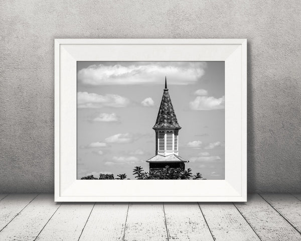 Church Steeple Photograph Black White