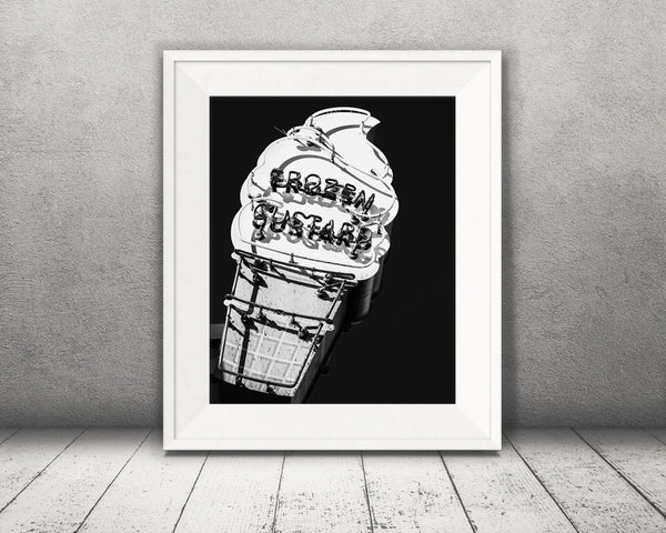 Ice Cream Sign Photograph Black White